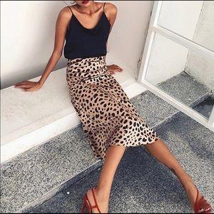 NWT Leopard Print Midi Skirt